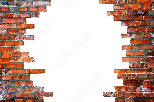 Foto op Canvas Baksteen muur White hole in the brick wall
