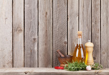 Kitchen Utensils, Herbs And Spices On Shelf