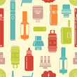 Vector seamless pattern of vaporizer and accessories.