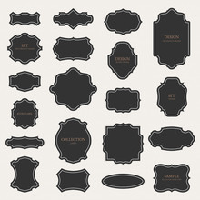 Collection Of Various Frames, Labels. Vector Illustration. Set Of Blank Retro Badges.