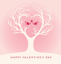 Happy Valentines Day Tree With Lovebirds