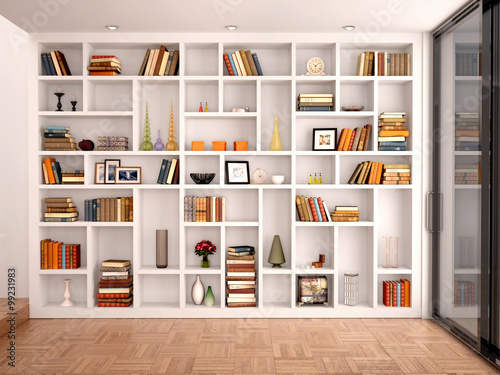 Fotografía  3d illustration of White shelves in the interior with various ob