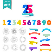 Vector Set Of Anniversary Numbers Design. Create Your Own Icons, Compositions With Ribbons, Dates And Sunbursts .