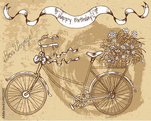 Staande foto Fiets Vintage bike with flowers on brown texture background