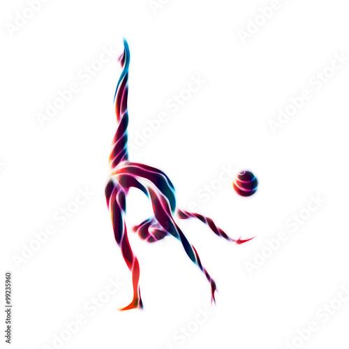 Tuinposter Gymnastiek Creative silhouette of gymnastic girl. Art gymnastics with ball
