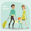 Traveling family on vacation. Cartoon vector illustration