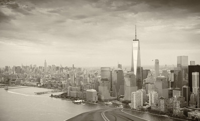 Road to New York City. Holiday and travel concept. Black and whi