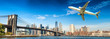 Airplane after take off with New York skyline. Travel concept