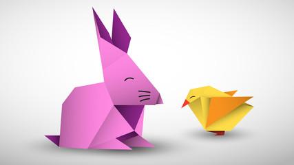 Naklejka królik i pisklę origami wektor