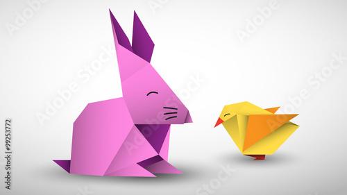 królik i pisklę origami wektor - 99253772