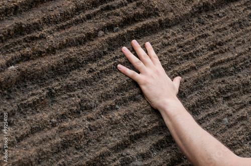Fotografie, Obraz  Hand on Geological sandstone rock formation in cape verde