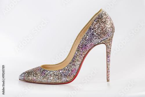 Buty damskie szpilki na wysokim obcasie lśniące  różowym brokatem