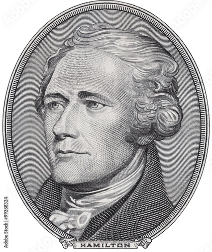Cuadros en Lienzo Alexander Hamilton face on ten dollar bill isolated, 10 usd, united states money