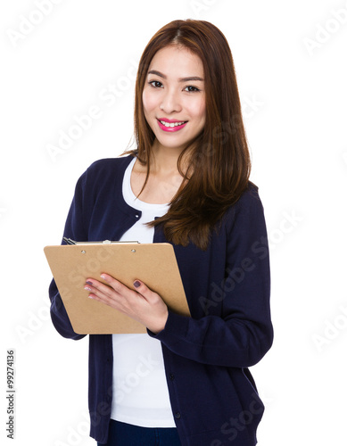 Woman use of the clipboard Canvas-taulu