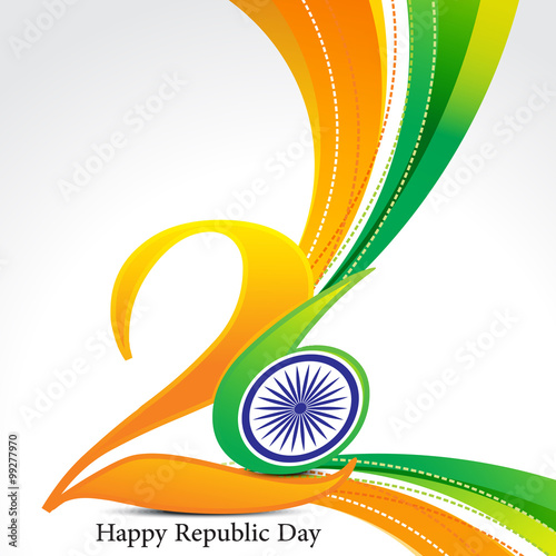 Fotografía  happy republic day wave background