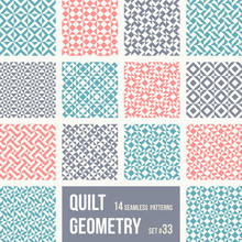 Geometric Quilt Patterns. Set ...