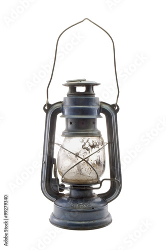 Photo Old dirty kerosene lamp / Old dirty kerosene lamp on white background