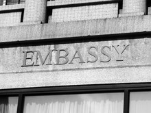 Embassy Sign On A Modern Build...