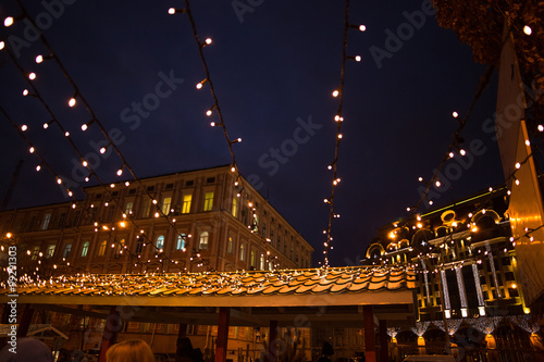 Christmas street lights decorations in european city