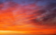 Leinwandbild Motiv Fiery orange sunset sky. Beautiful sky.
