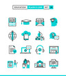 Education,online books, distance learning, webinar and more. Plain and line icons set, flat design, vector illustration