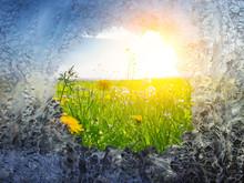 Frühlingszeiten - Loch In Einer Eisfläche Mit Sonniger Blumenwiese Im Hintergrund