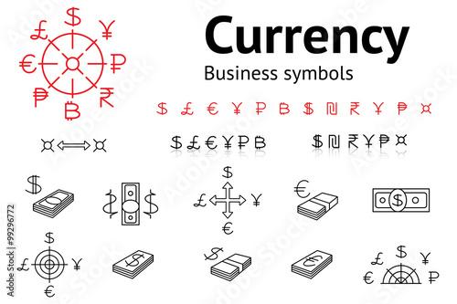 Dollar Euro Pound Yen Ruble Rupee Shexel Peso