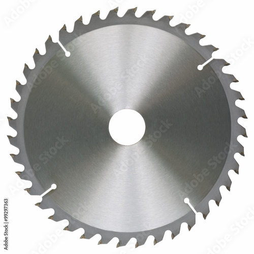 Leinwand Poster Circular saw blade isolated on white background without shadows