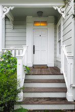Front Door And Porch Of A Victorian House