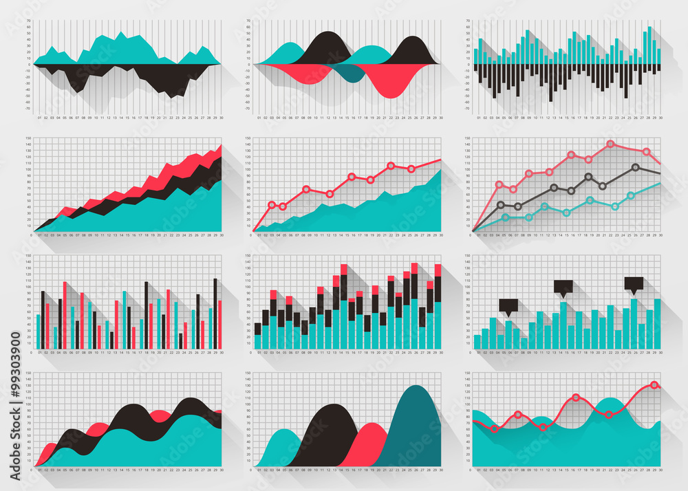 Fototapety, obrazy: Charts elements for business infographics