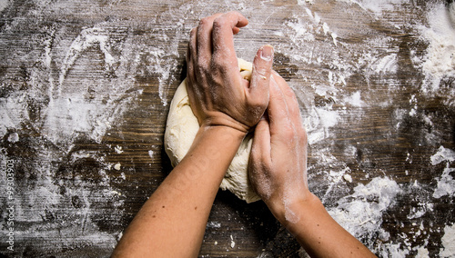 Printed kitchen splashbacks Bread Preparation of the dough. Preparation of the dough the women's hands.