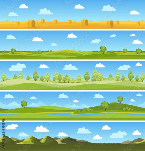 Canvas Prints Blue Country landscapes set