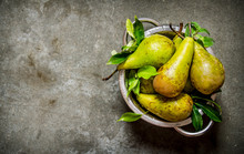 Fresh Pears In The Bowl With The Leaves.
