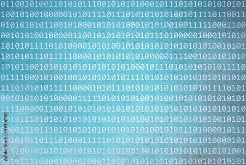 Fotografía  Grunge textura de información del código de números binarios en grunge abstracto borrosa cian fondo de color azul