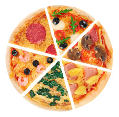 FototapetaPieces of pizza on a white background. Collection.