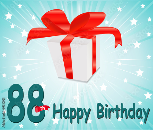 88 Year Happy Birthday Card With Gift And Colorful Background In Vector EPS10