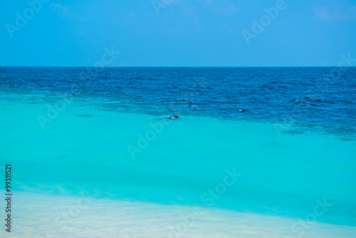 Sand beach and ocean wave, South Male Atoll. Maldives Canvas Print