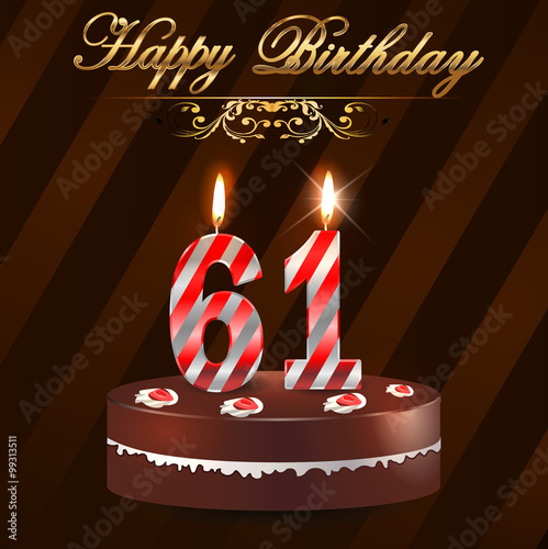 61 Year Happy Birthday Card With Cake And Candles 61st Birthday
