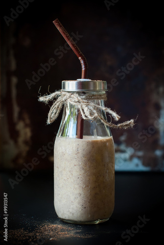 Foto op Plexiglas Milkshake Banana Smoothie with Milk. Healthy Beverage