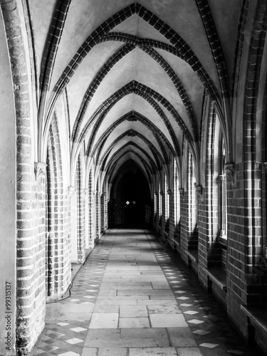 Cloister with gothic rib vault ceiling