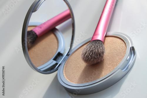 Fototapeta  Face powder and makeup brush