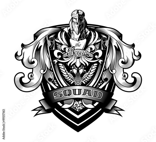 "Photographie  Ornamental Baroque Heraldry Shield ""Royal Squad"""