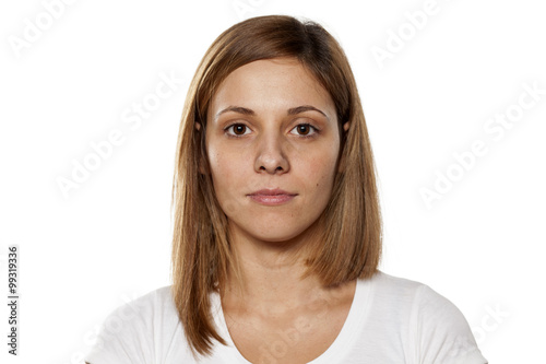 young beautiful woman without makeup