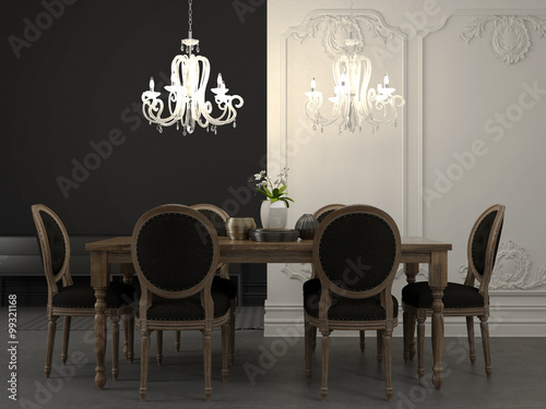 Fotografía Dining table and beautiful white chandelier