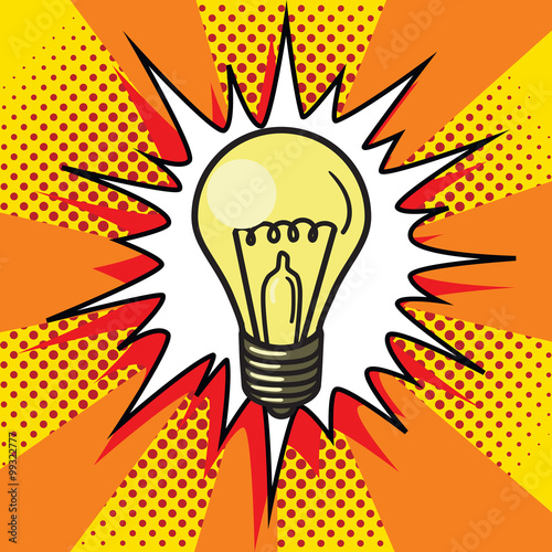 Staande foto Pop Art Light bulb lamp pop art style vector