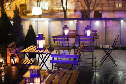 Illuminated caffe tables Wallpaper Mural