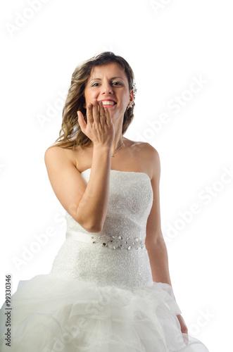 Fotografering  Sposa che lancia un bacio