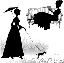 Set Of Silhouettes Women