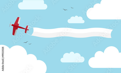 Plane with banner. Vector illustration Canvas Print