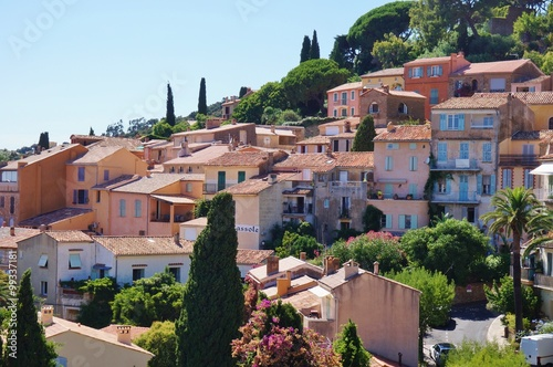 Bormes-les-Mimosas, a medieval Provencal village on the French Riviera in the Var departement of France near Toulon